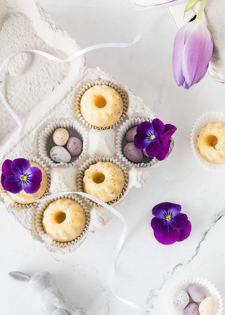 Mini passion fruit and poppyseed Bundt cakes