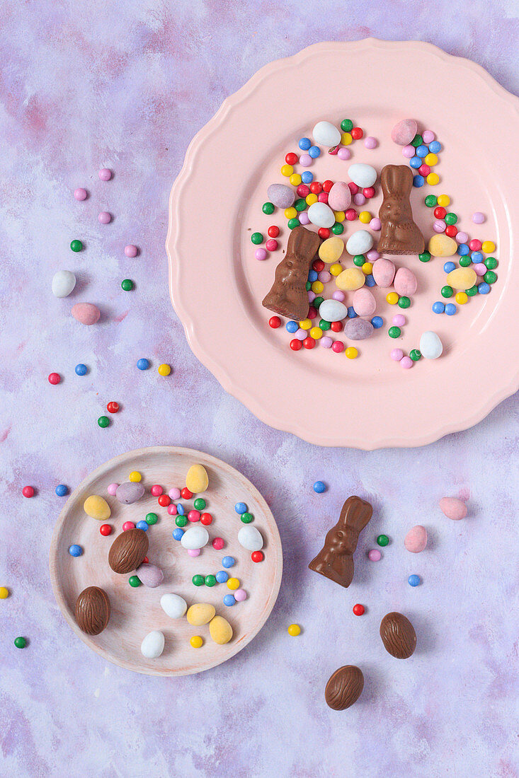 Easter candies on a pink plates