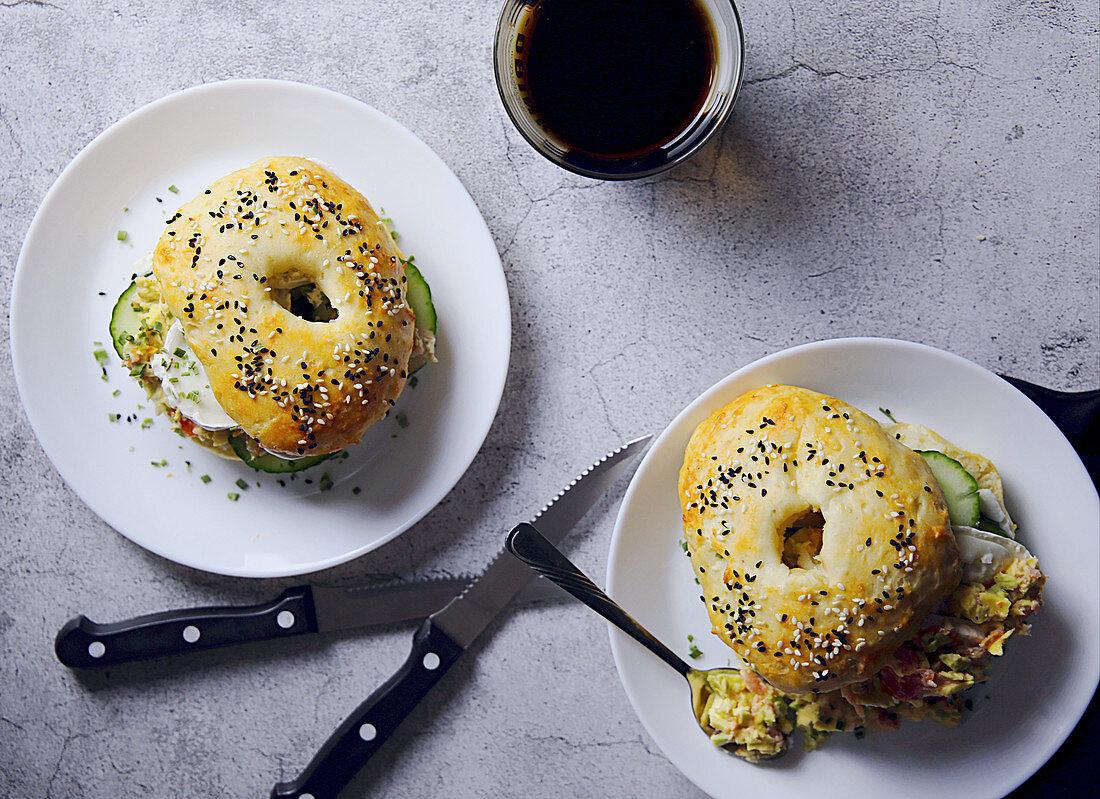 Sesame seed bagel sandwiches