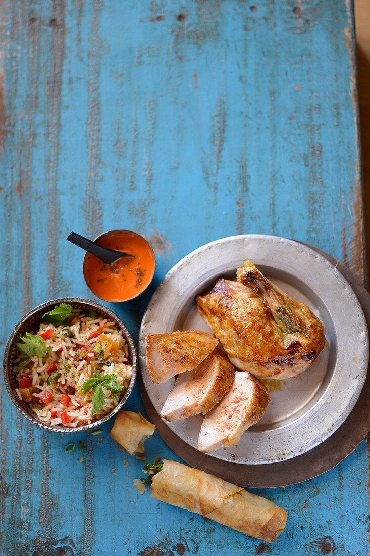 Roast chicken with pilau rice