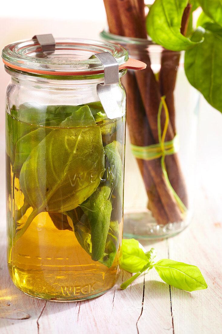 Homemade basil spice vinegar