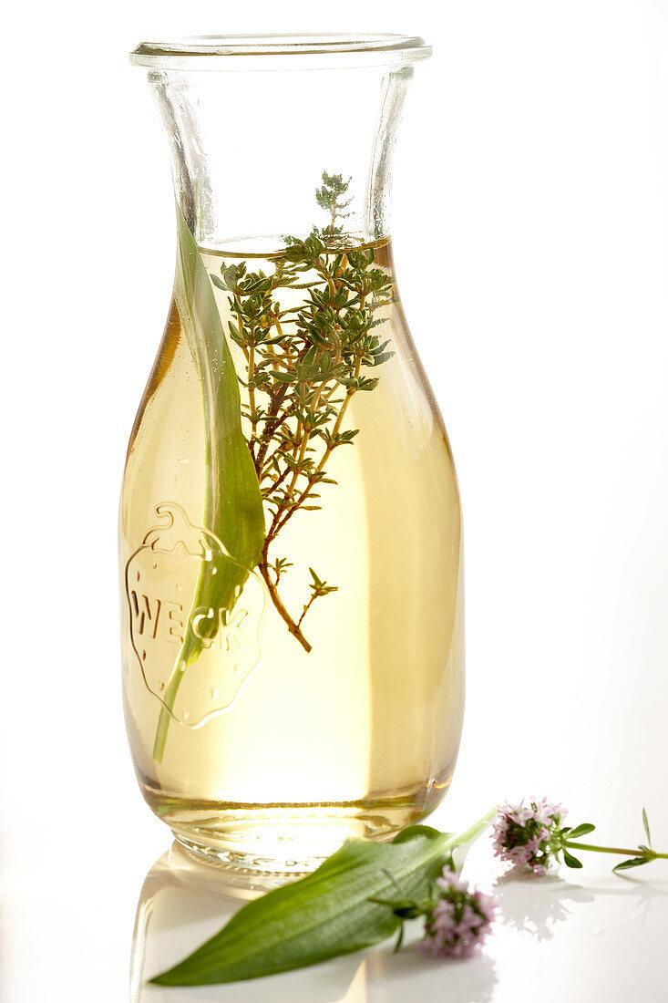 Homemade wild garlic vinegar