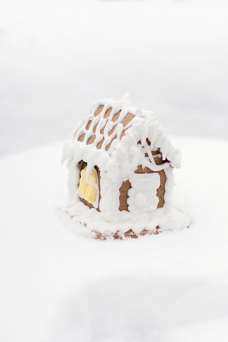 Gingerbread house standing in fresh fluffy snow