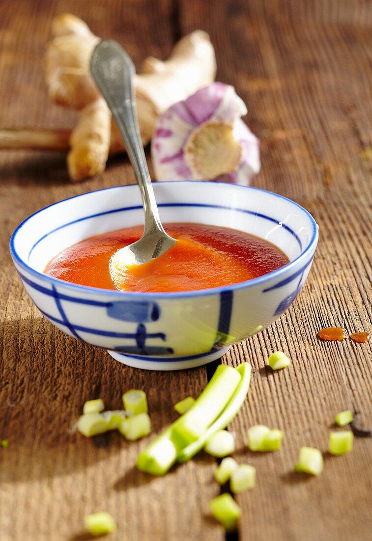 Homemade tomato and ginger ketchup with garlic