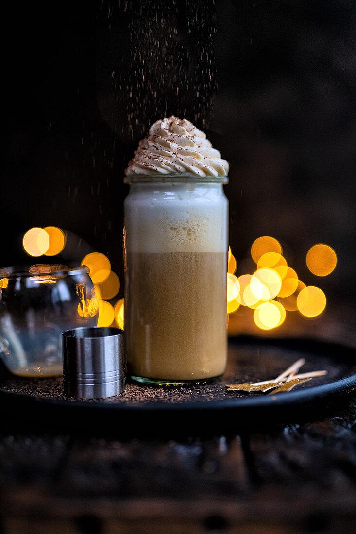 Irish coffee with cream