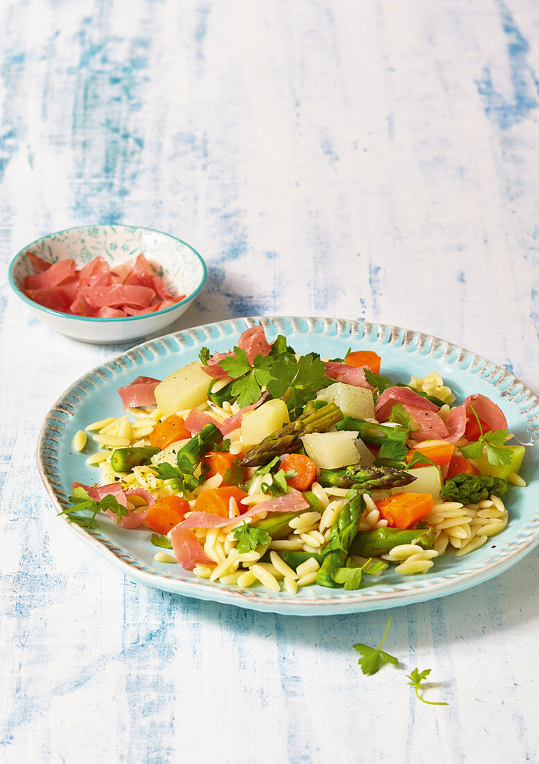 Vegetable and orzo salad