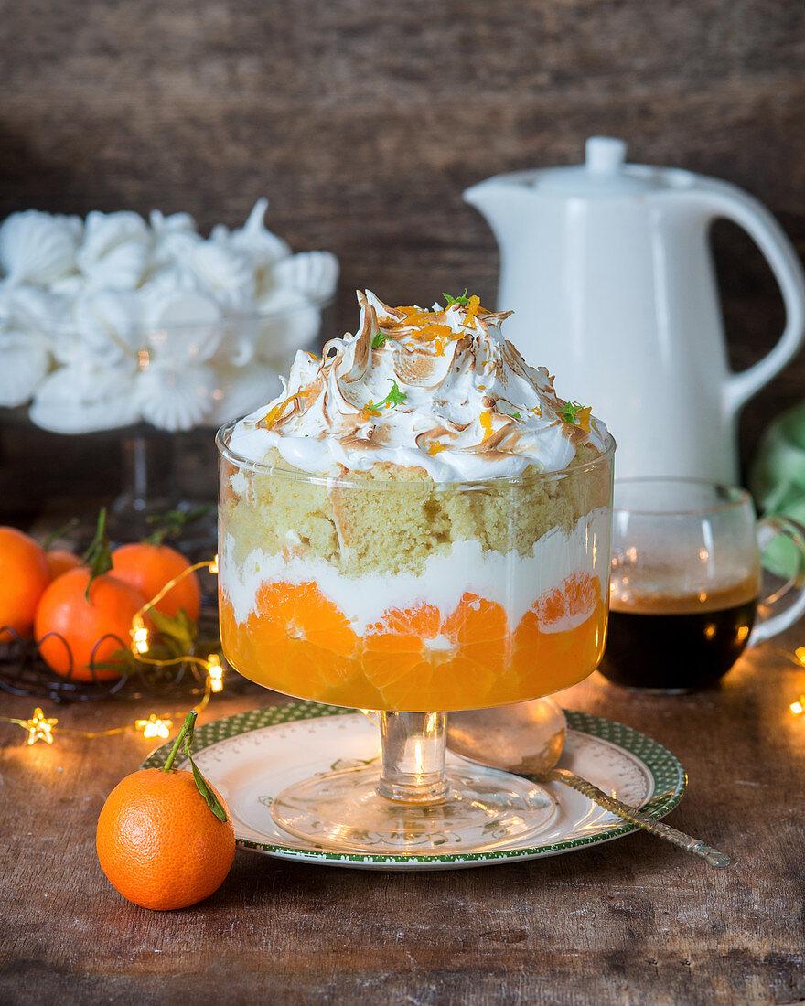 Tangerine jelly, vanilla cream, sponge and italian meringue trifle