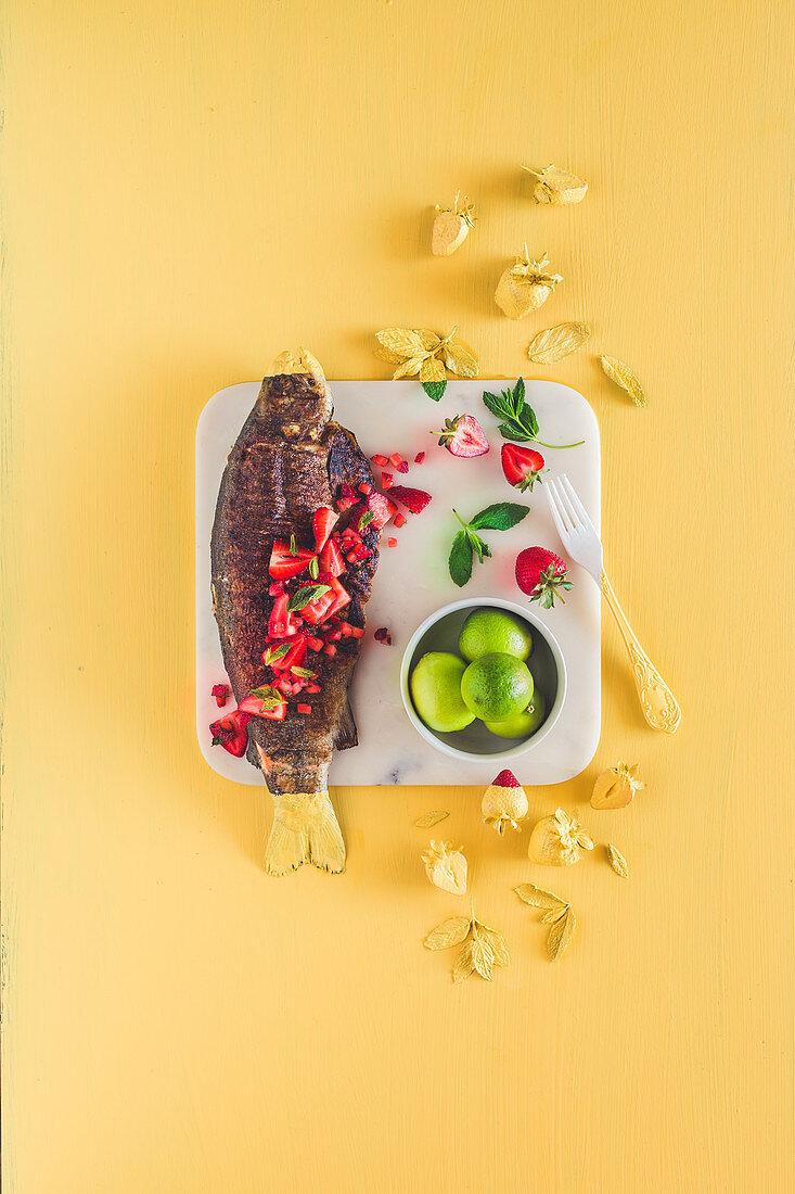 Crispy skin trout with strawberry daiquiri salsa