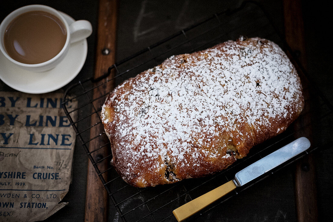 Home made stollen enriched with butter and home made marzipan.