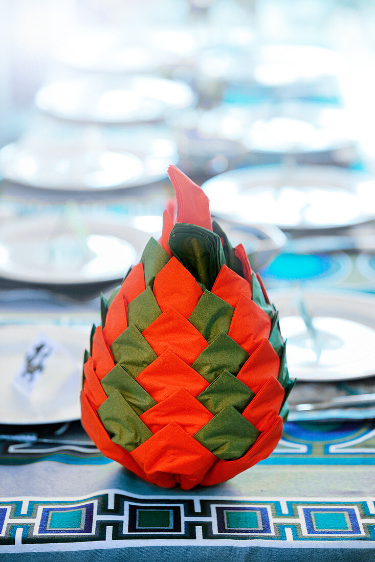 A red and green cone (napkin folding technique)