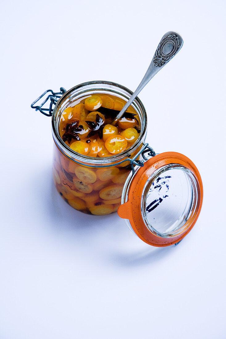 Pickled spice kumquats
