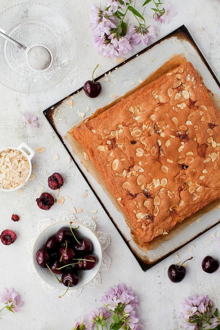 Gluten Free Cherry and Almond Sponge Traybake Cake