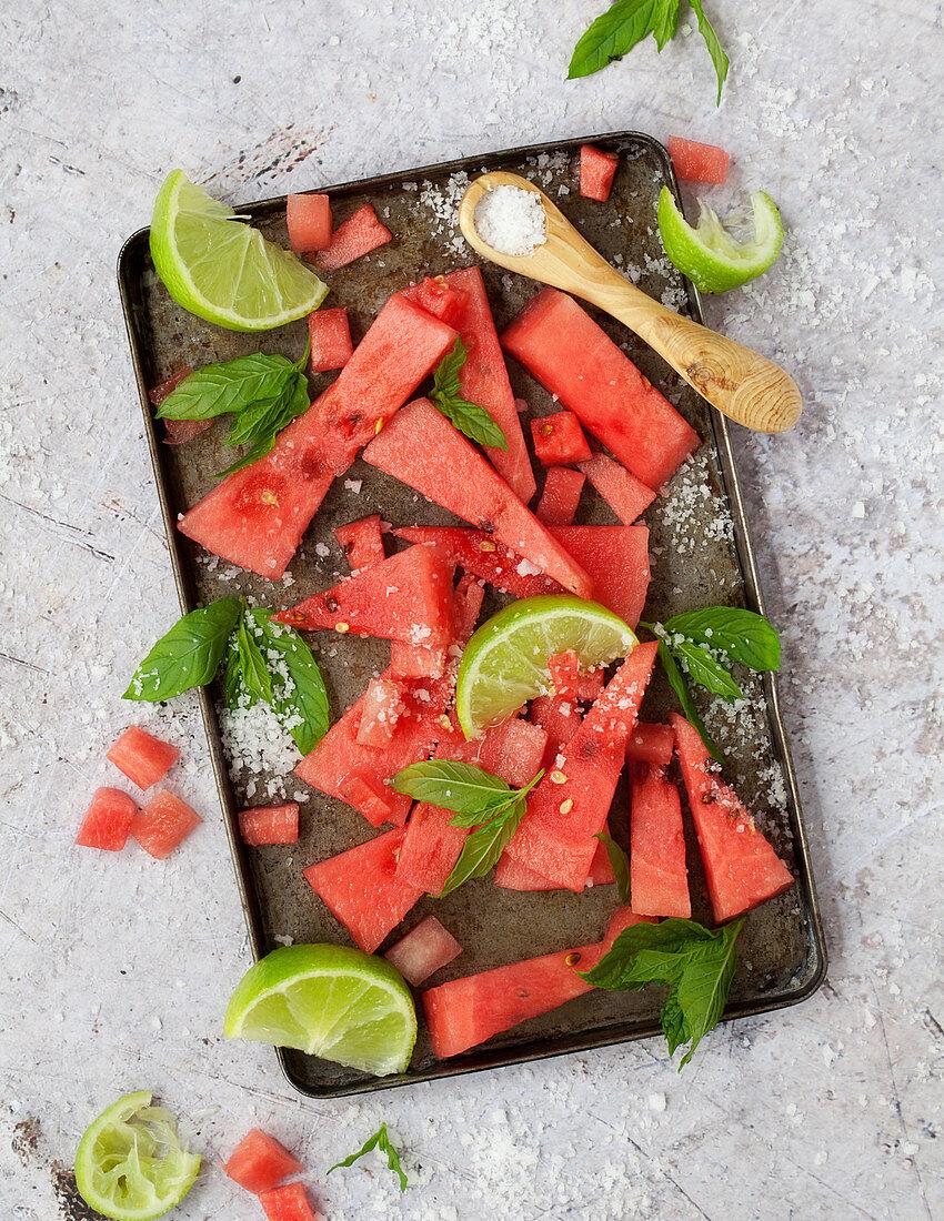 Watermelon with Lime Salt Mint