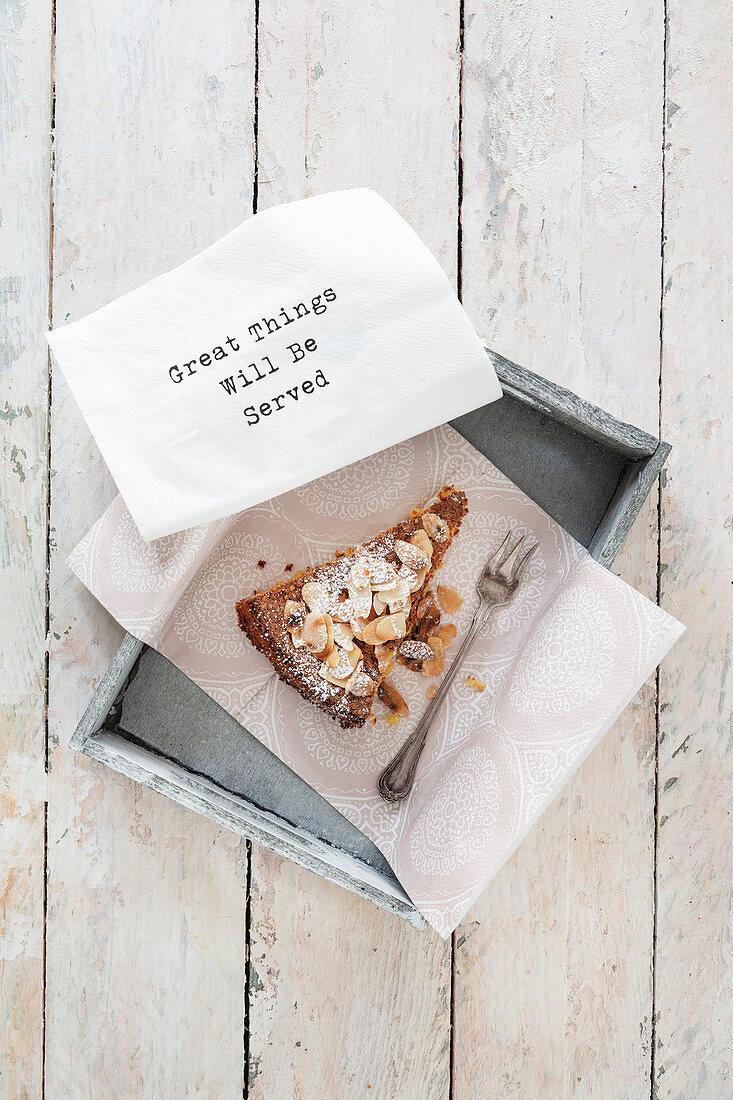 A piece of almond cake (flourless, gluten-free)