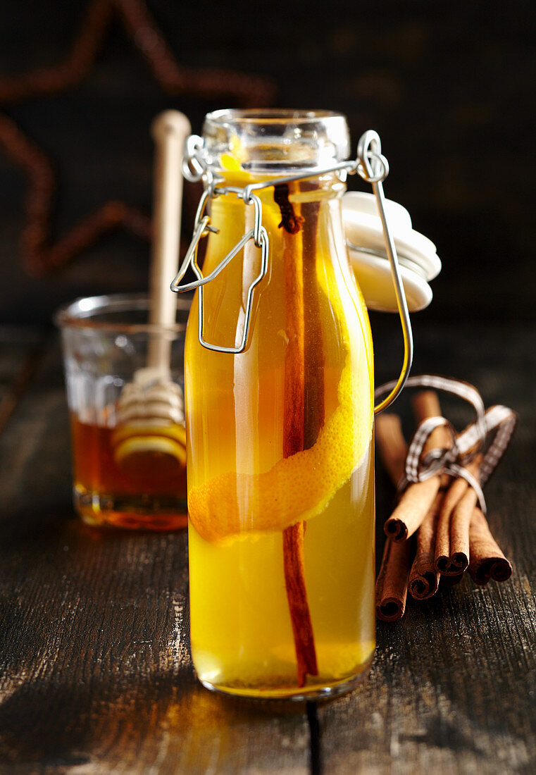 Homemade honey and spiced liqueur with cinnamon, cloves and vodka