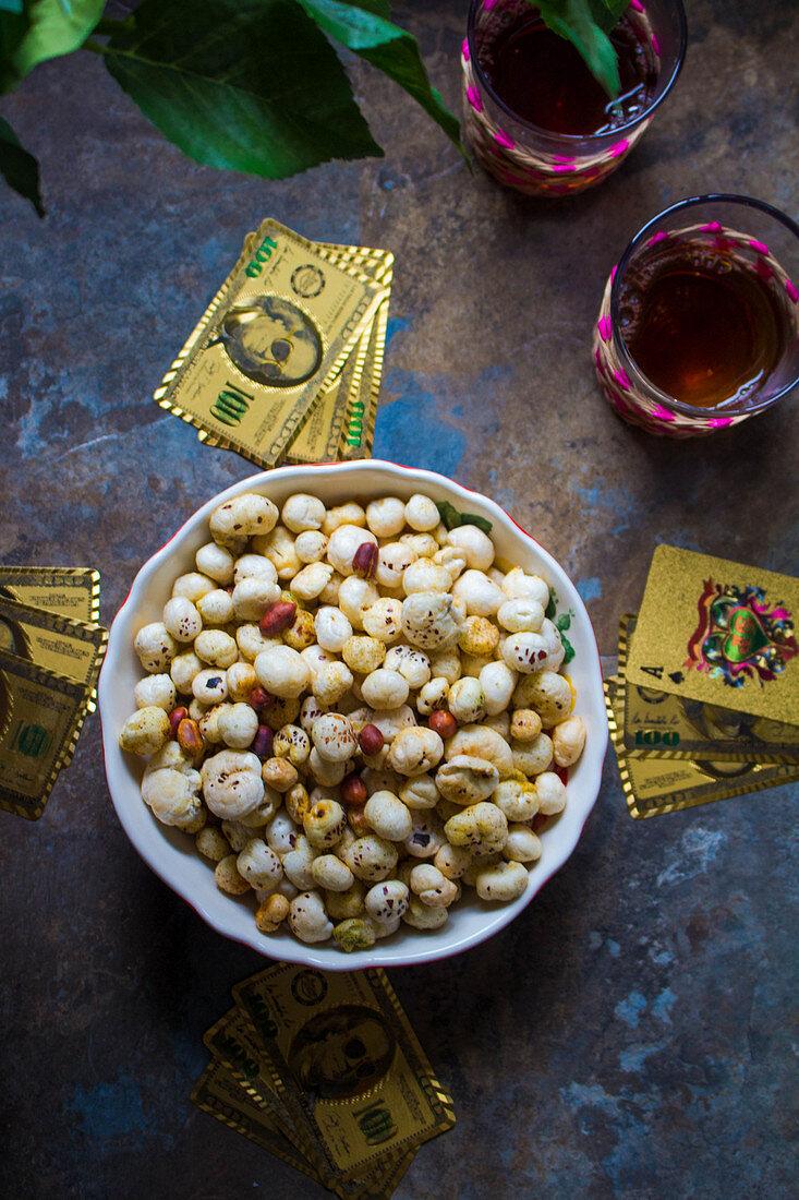 Spicy fried makhana (lotus seeds)