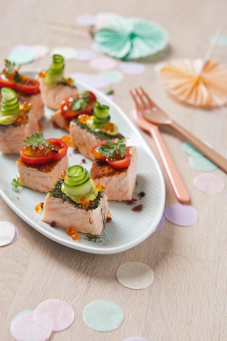 Two varieties of salmon petit fours