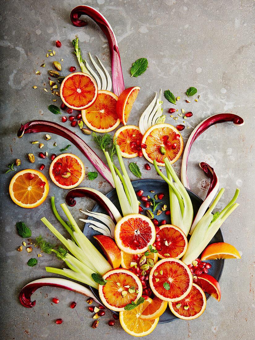 Deconstructed blood orange and fennel salad