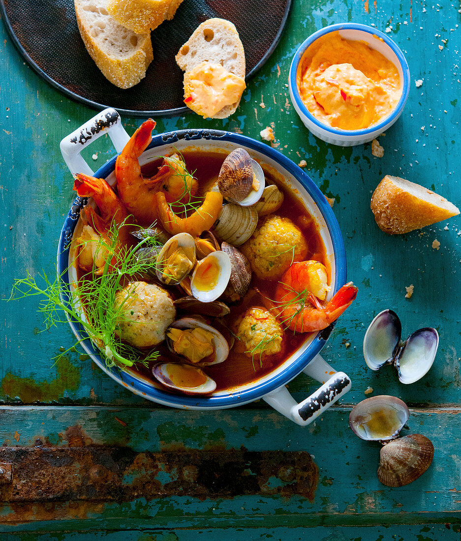 Bouillabaisse with pepper rouille