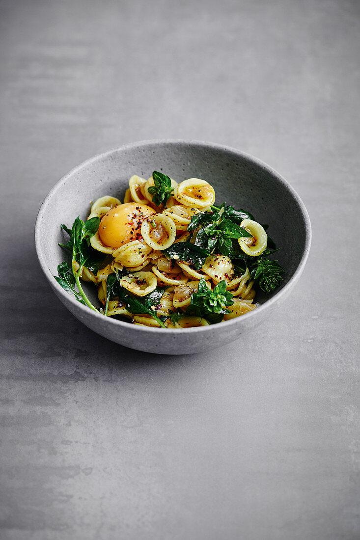 Orecchiette pasta with spinach and egg