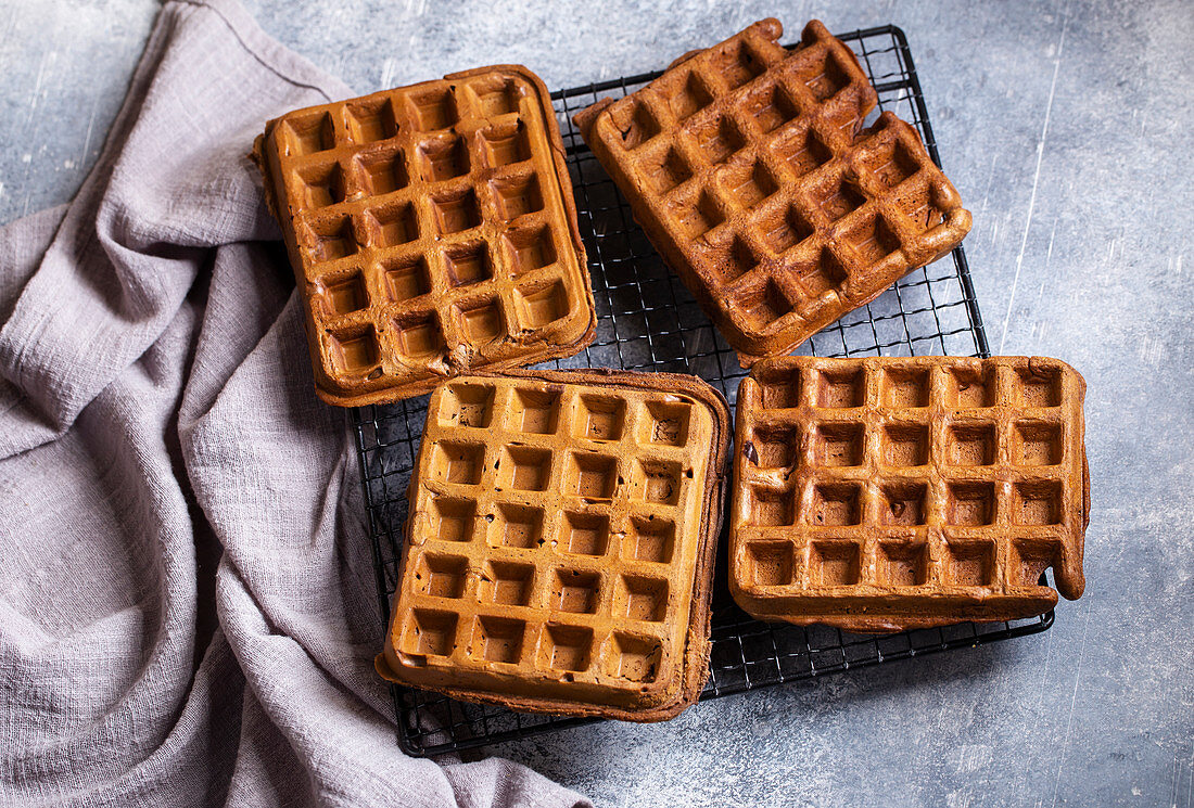 Fresh waffles with bird cherry flour