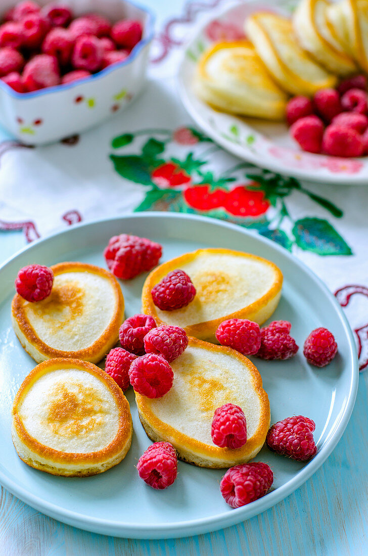 Pancakes with fresh raspberries for breakfast