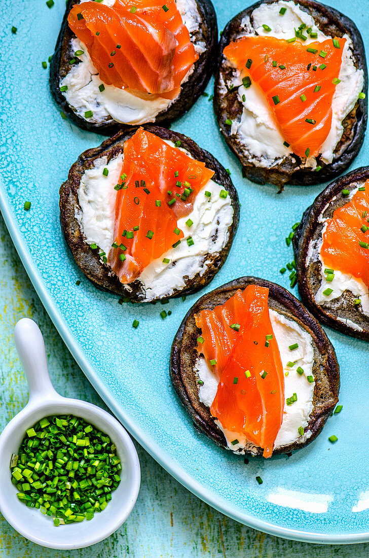 Roasted eggplants with cream cheese and salmon