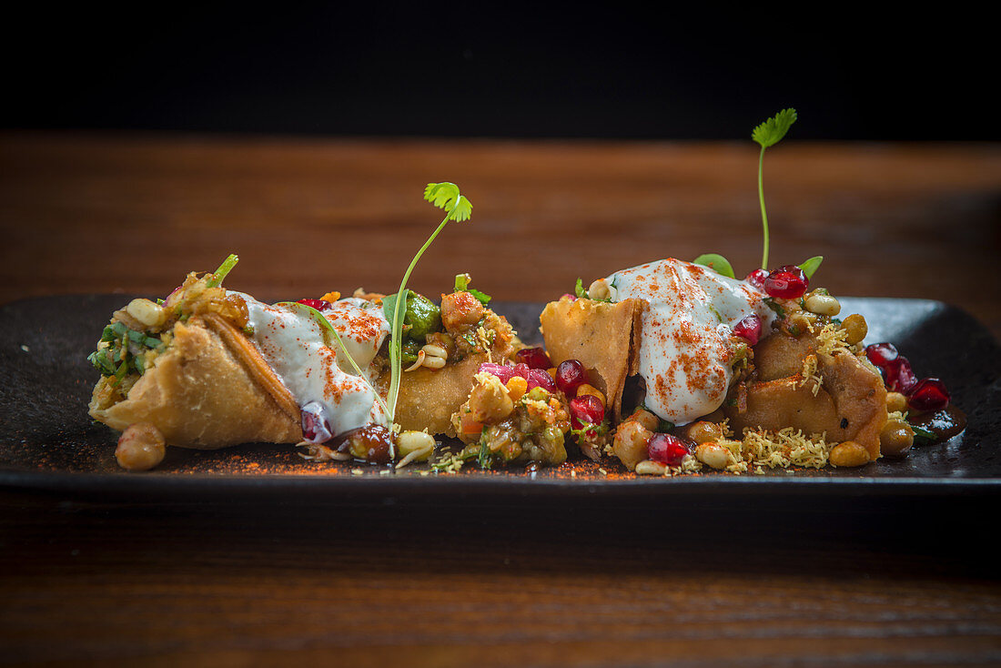 Indian samosa chaat