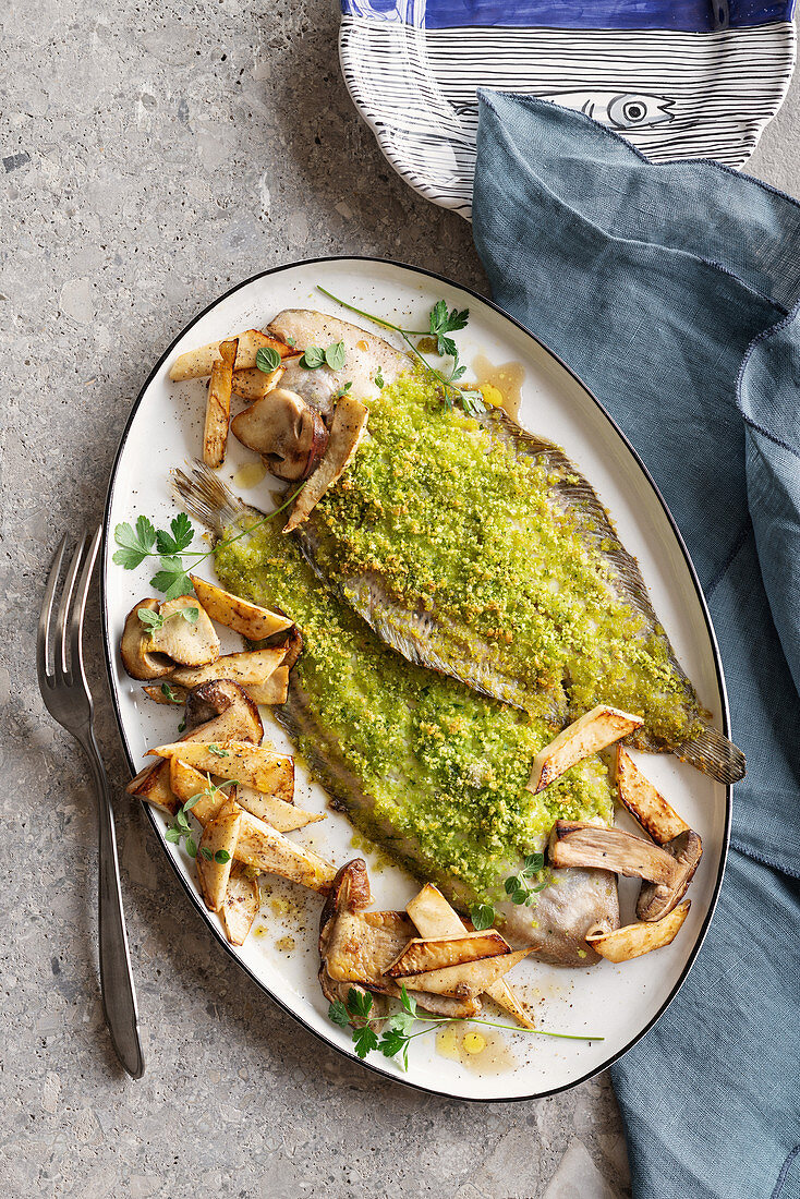 Oven-roasted sole with a herb crust, porcini mushrooms and celery
