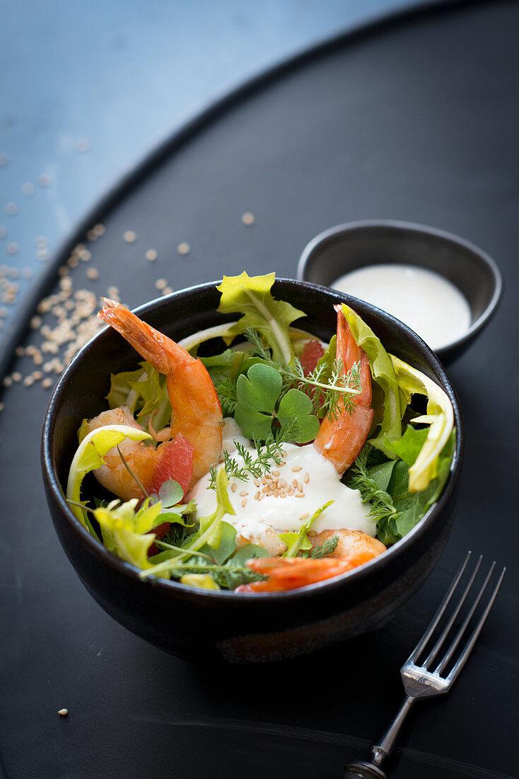 Wild herb salad with shrimps