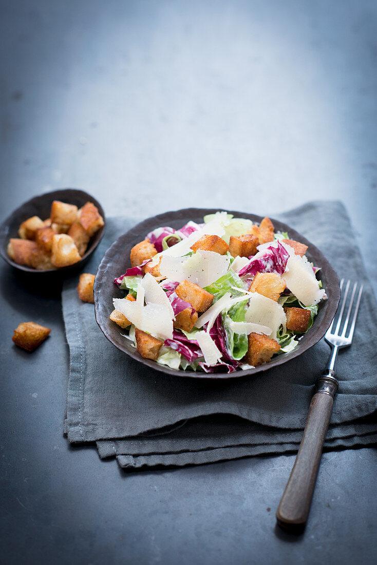 Caesar salad with chicory