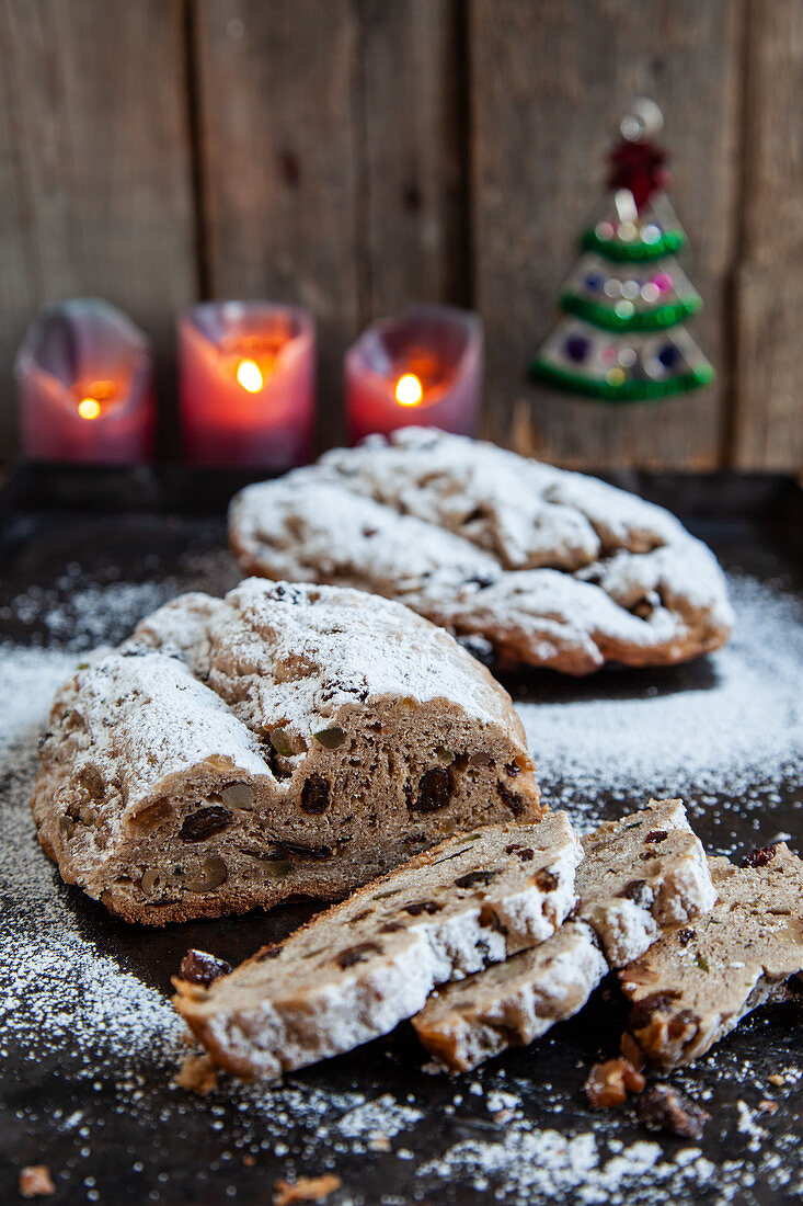 Two small Christmas stollen