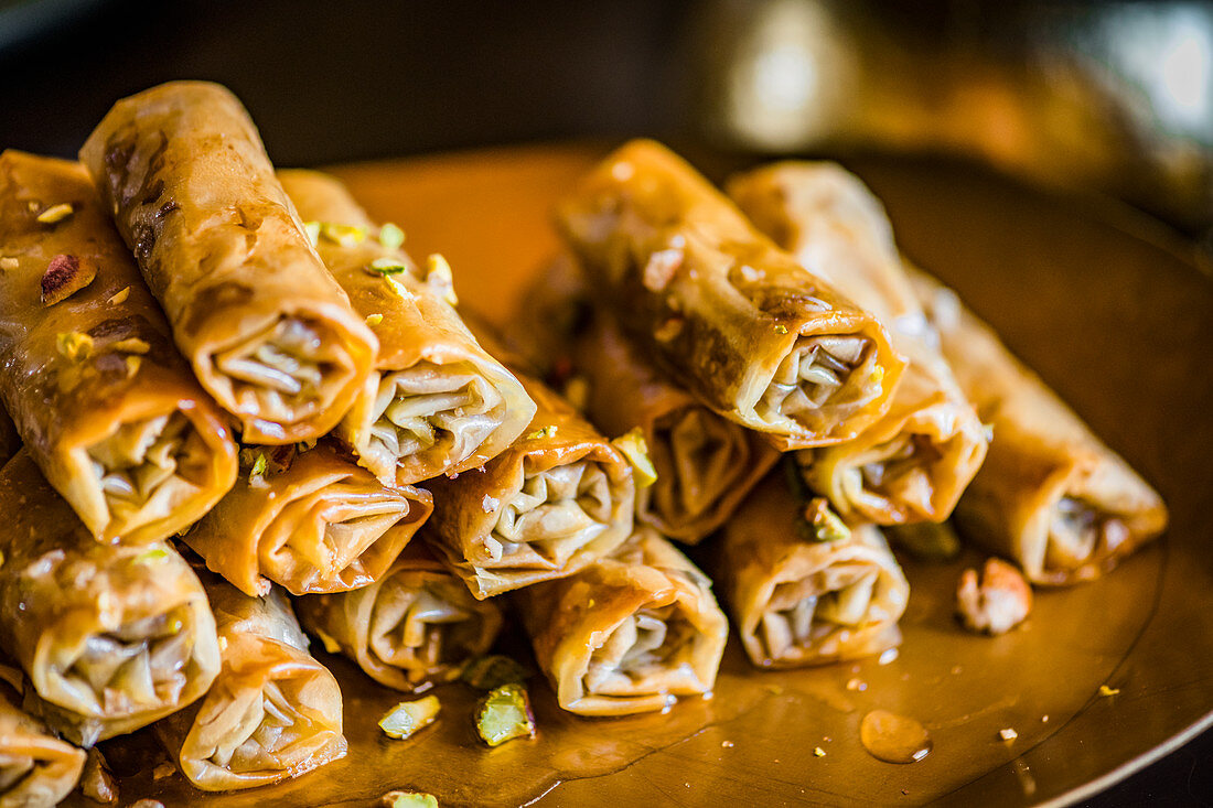 Baklava rolls with pistachio nuts for an Easter high tea