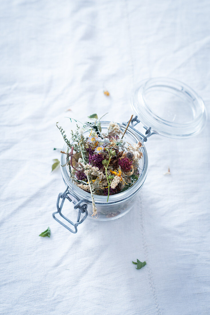 Herbal tea in a mason jar