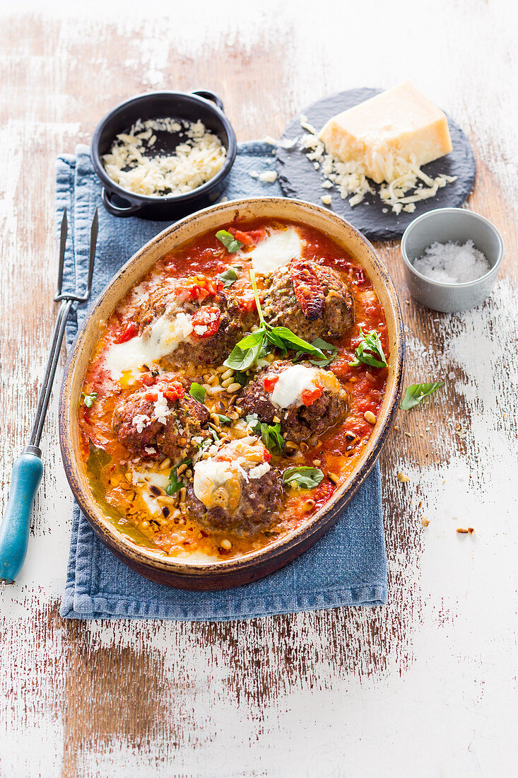 Veal meatballs with sun-dried tomatoes and pine nuts