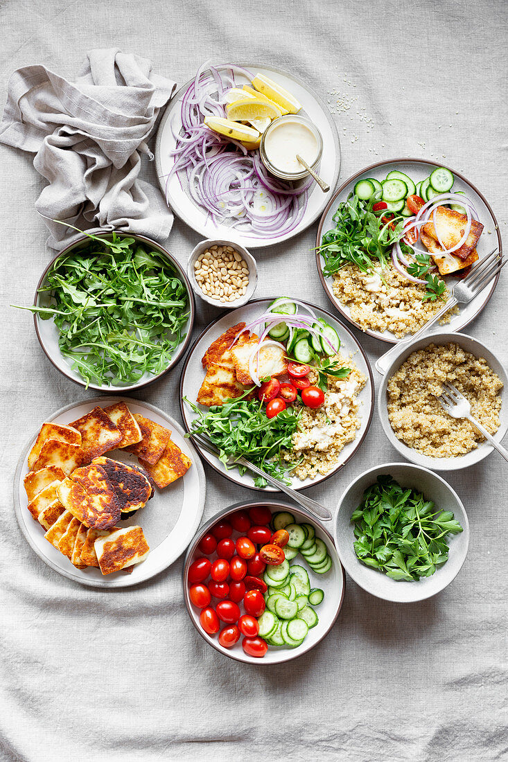 Grain bowls with different ingredients