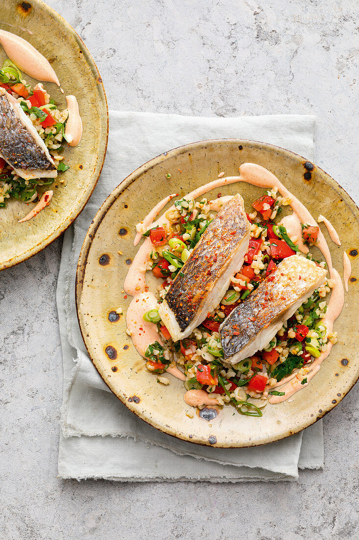 Tabbouleh with sea bream and a baharat yoghurt dip