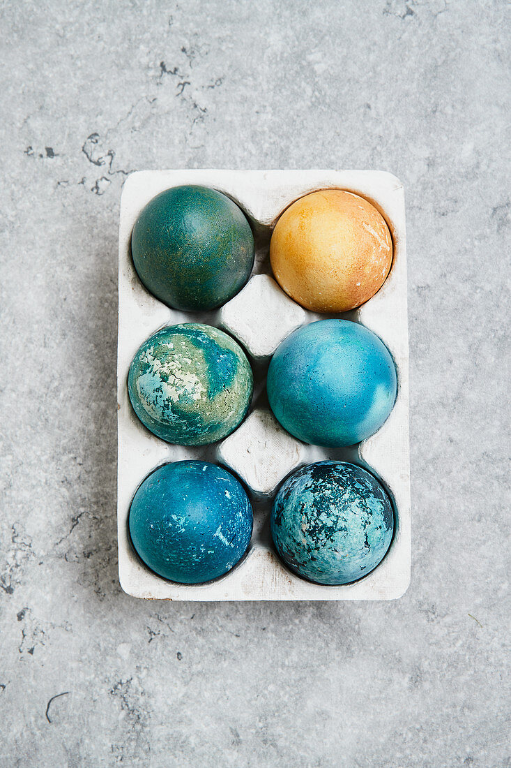 Red cabbage and turmeric dyed Easter eggs