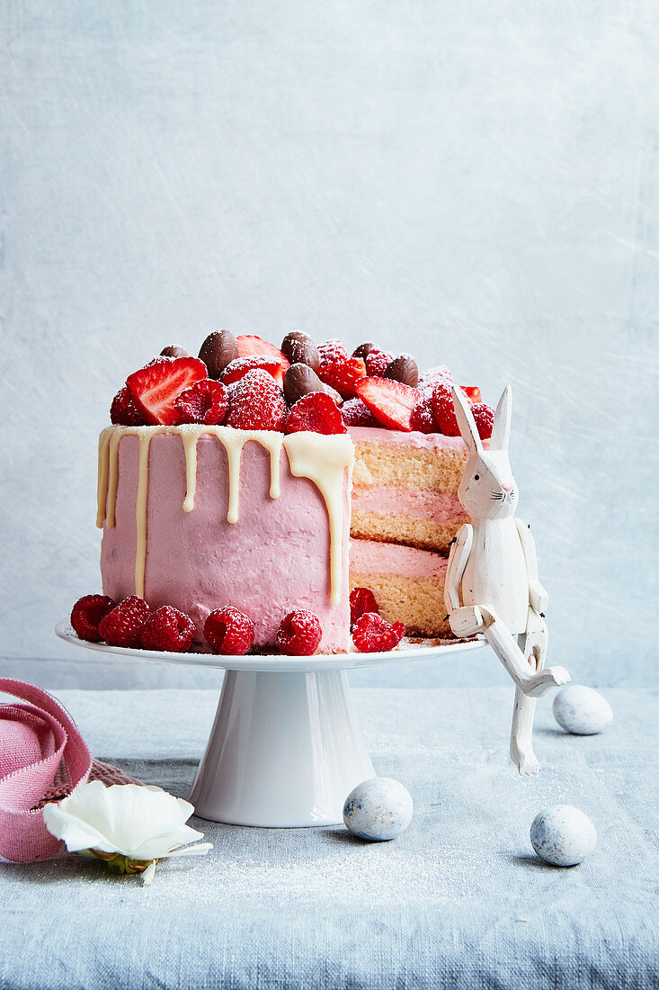Easter cake with fresh berries