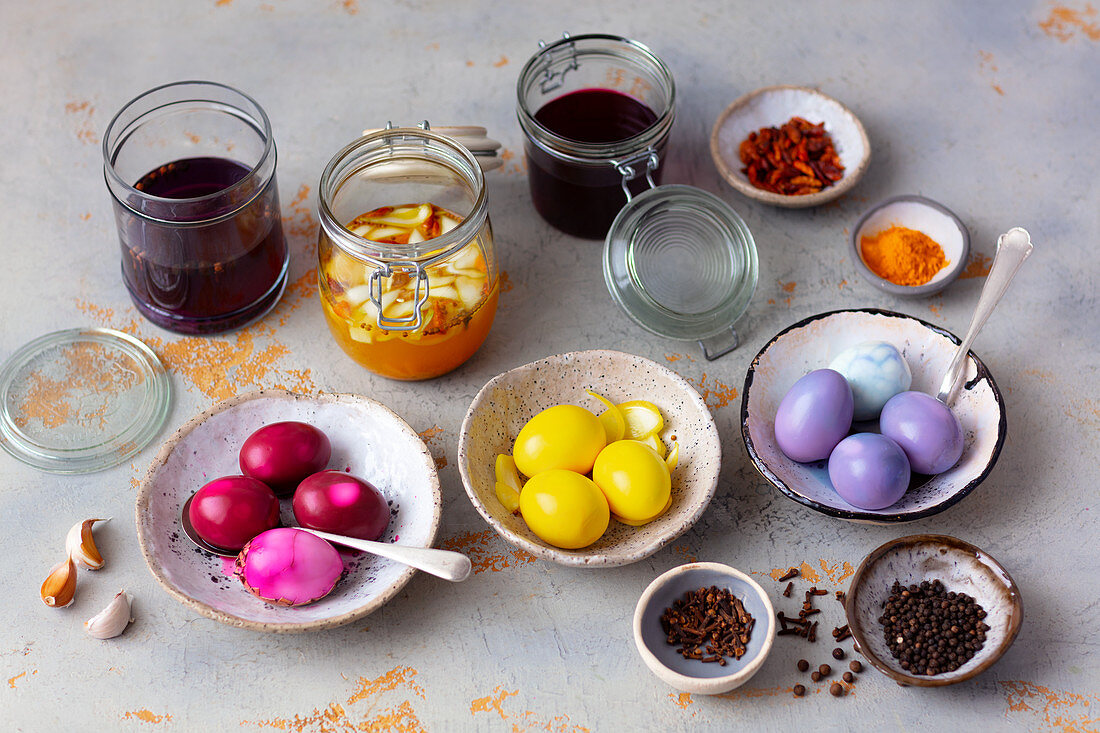 Hard-boiled eggs marinated and dyed with natural colors
