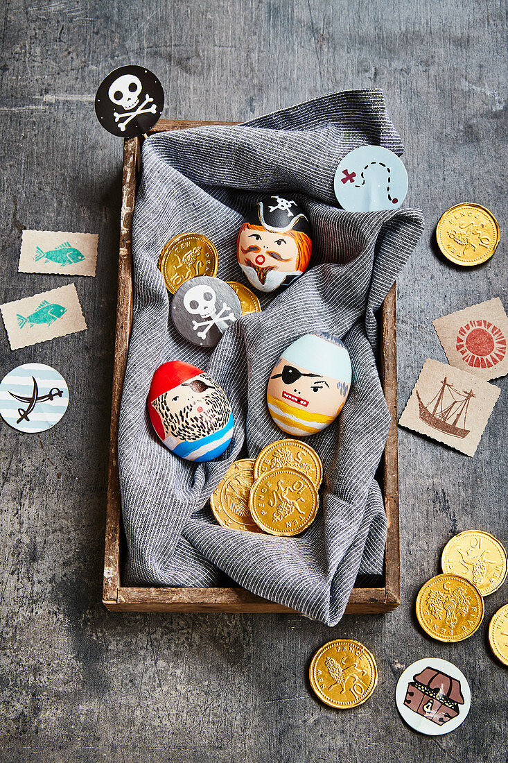 Easter eggs decorated with pirate motifs
