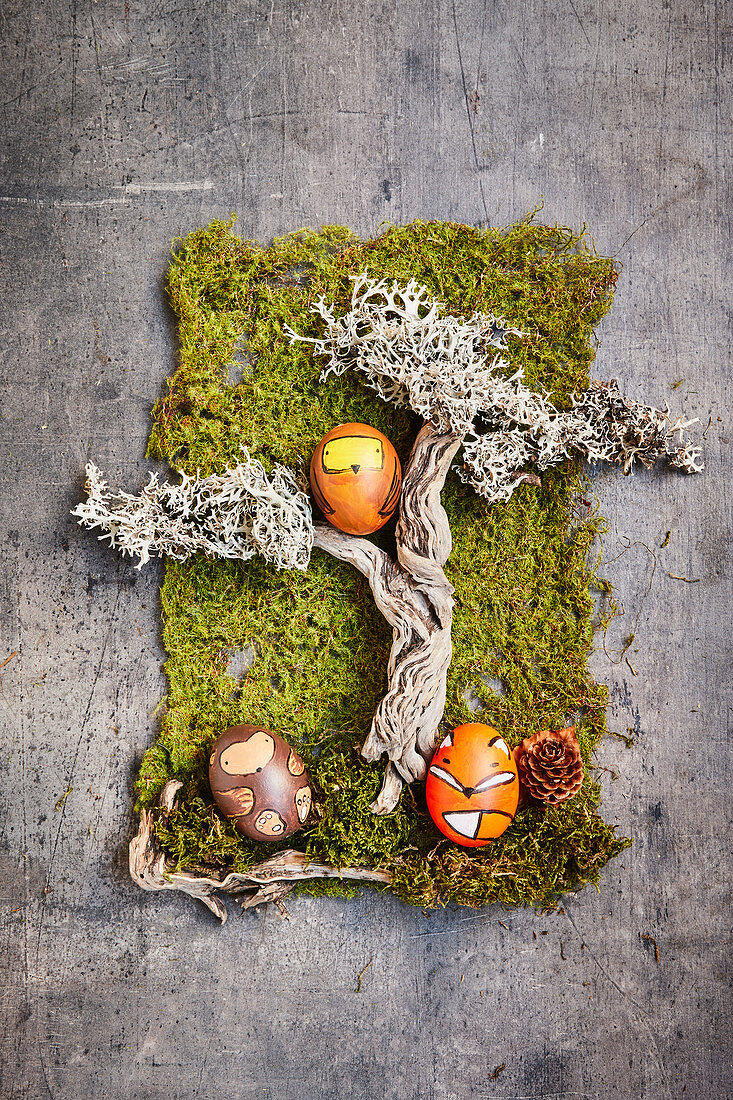 Easter eggs decorated with woodland animal motifs