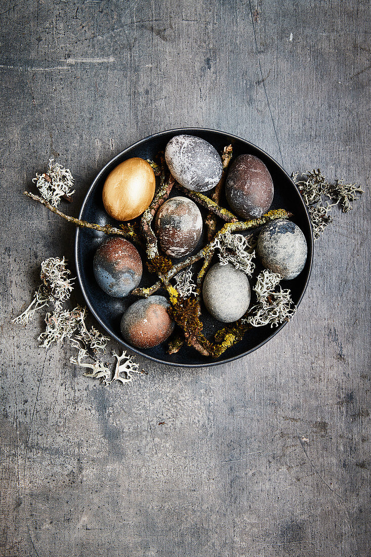 Easter eggs coloured with grape juice