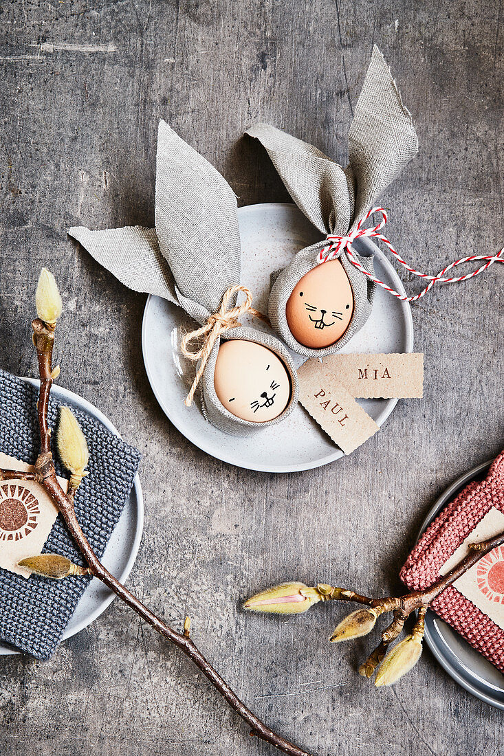 Easter eggs with napkin ears