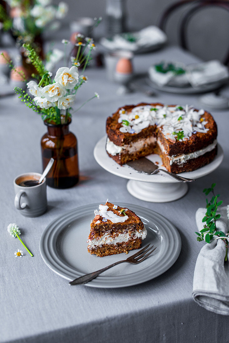 Carrot cake and espresso for an Easter brunch