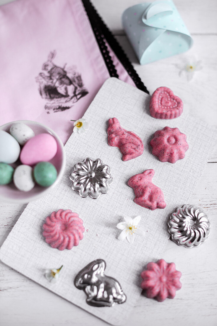 Pink chocolate pralines for Easter