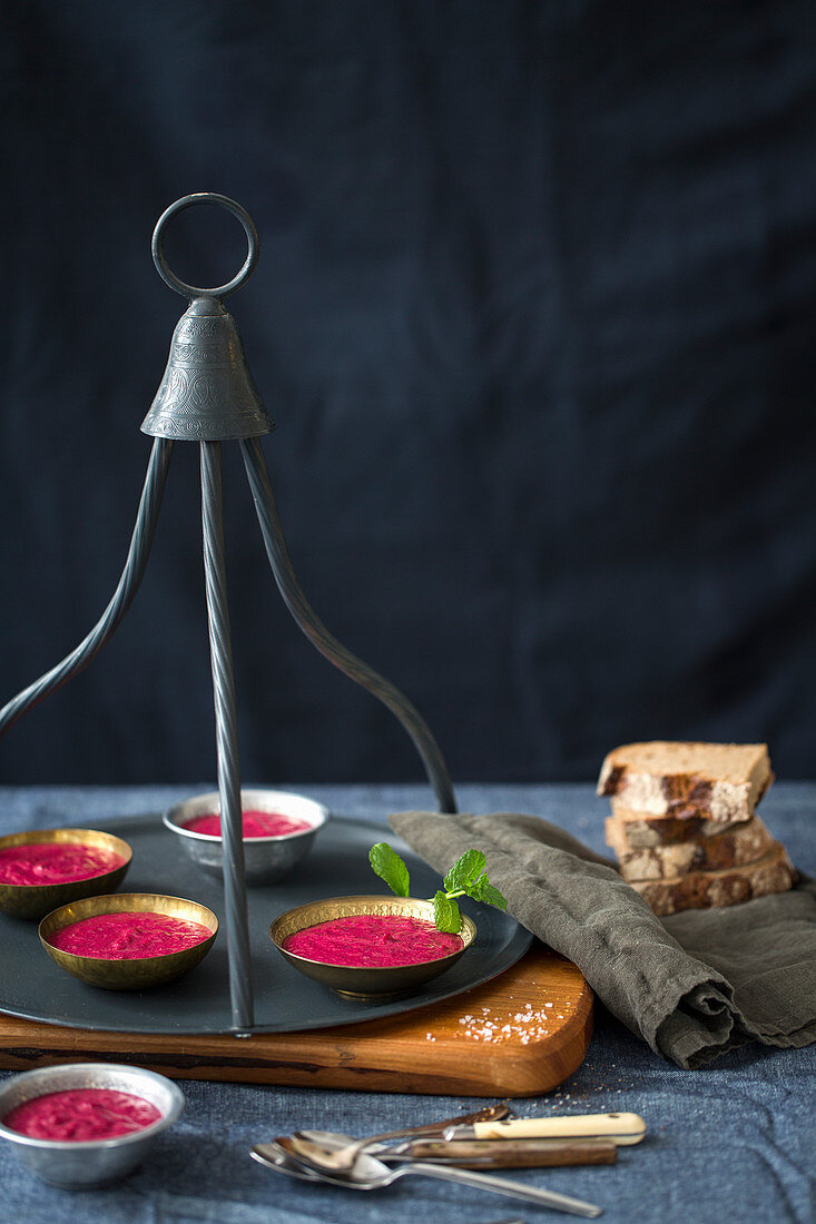 Beetroot soup and bread