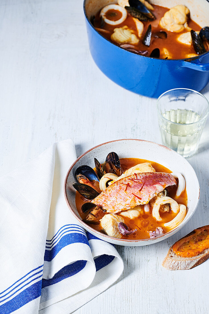 Bouillabaisse with red mullet