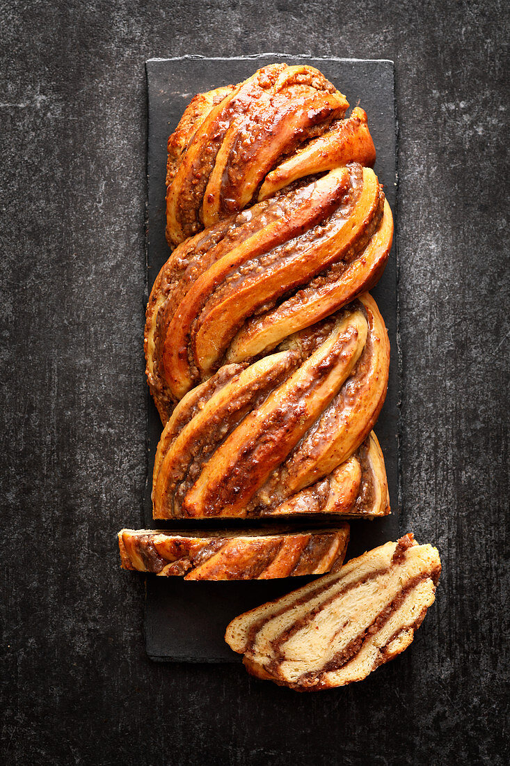 A twisted nut bread plait
