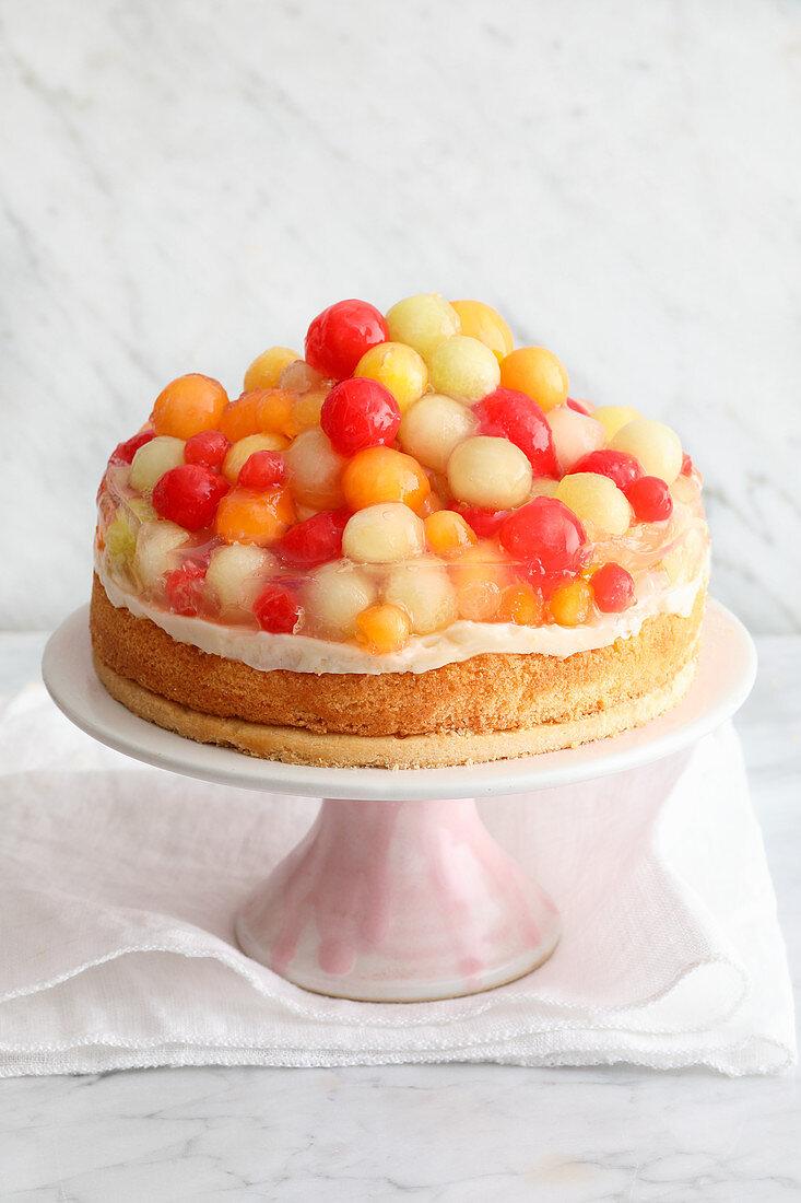 Fruit cake with melon balls